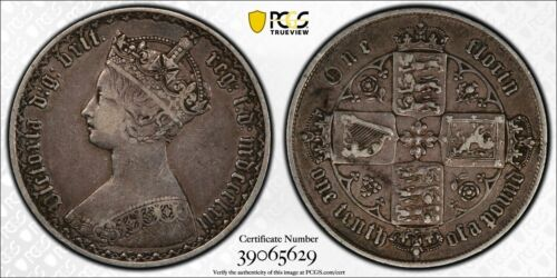 1862 Great Britain Gothic Florin PCGS XF40 Lot#G114 Silver! Scarce Key Date!