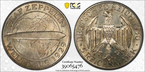 1930-D Germany 5 Mark Zeppelin PCGS MS63 Lot#G971 Silver! Choice UNC!