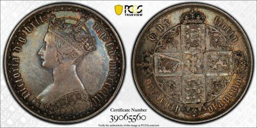 1853 Great Britain Gothic Florin PCGS AU50 Lot#G050 Silver!