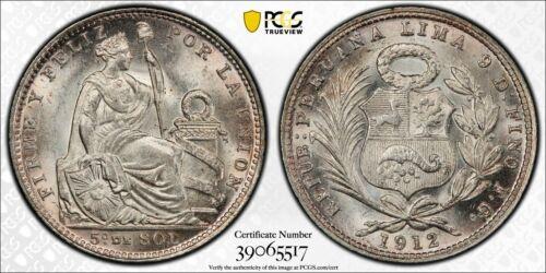 1912-FG Peru 1/5 Sol PCGS MS64 Lot#G009 Silver! Choice UNC!