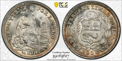 1916-FG Peru 1/2 Dinero PCGS MS66 Lot#G102 Silver! Gem BU!