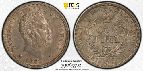 1883 Hawaii 10 Cents PCGS AU53 Lot#G994 Silver! Nice Example!
