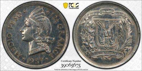 1937 Dominican Republic 1/2 Peso PCGS AU Details Lot#G159 Silver!