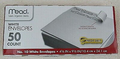 Mead 10 Envelopes Business White Letter Self Seal All Purpose Mailing 50 Count