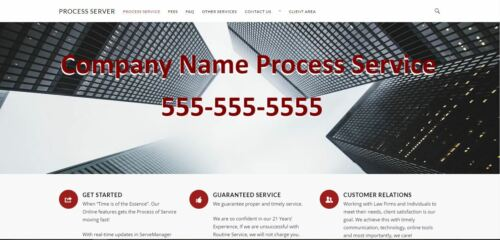 Process Server Website Fully Editable (you supply Domain and Hosting)