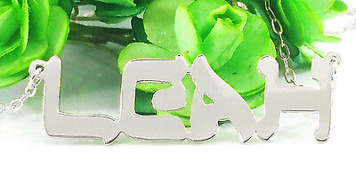PERSONALIZED .925 STERLING SILVER HEBREW LOOK ANY NAME PLATE NECKLACE US SELLER