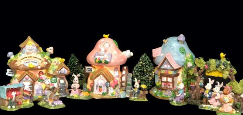Vintage Hand Painted Bisque Porcelain Easter Light Up Village 3 Buildings 12 PCs