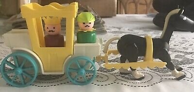 Fisher Price Vintage Little People #993 CASTLE SET- Carriage Footman Horse KING