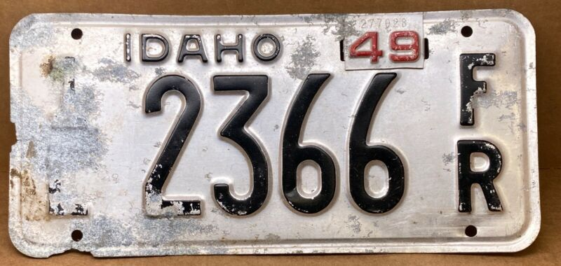 """IDAHO 1948-with"""" 49 tag """" LICENSE PLATE FAMOUS POTATOES VINTAGE ( 1L 2366 FR )"""