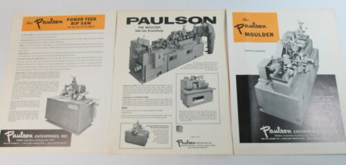 Paulson Molder & Ripsaw Original Brochure Literature Excellent Condition 1974
