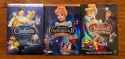 Cinderella 1, 2, and 3 Brand New 3-DVD Disney Bundle Free Shipping !!