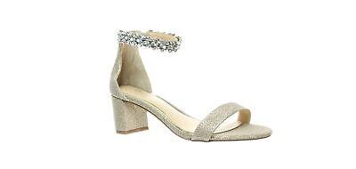 JEWEL BADGLEY MISCHKA Womens Bradley Light Gold Ankle Strap Heels Size 5.5