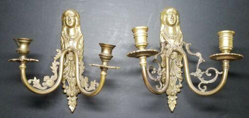 Antique Art Nouveau Bronze/Brass Maiden Candle Wall Sconces Pair ☆ Each Unique