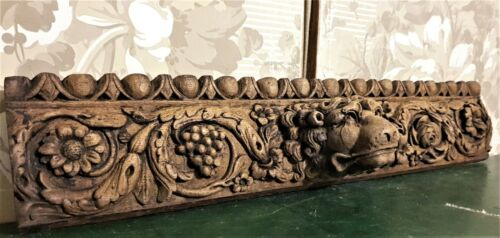 17th century lion scroll carving pediment Antique french architectural salvage