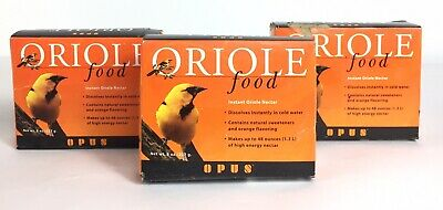 3x Oriole Food Instant Nectar Powder Natural Orange Opus NOS FAST FREE SHIP