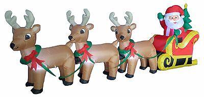 8 Foot Long Christmas LED Inflatable Santa Claus Reindeer Sleigh Yard Decoration