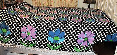 Vintage 60's Fieldcrest  Floral Dot pompoms Fringed Cotton Woven Bedspread Full