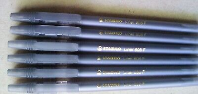 12 Stabilo Liner 808f Black Fine Ballpoint Pen
