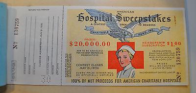 Vintage American Hospital Sweepstakes Lottery Ticket Stub Unused New York 1936
