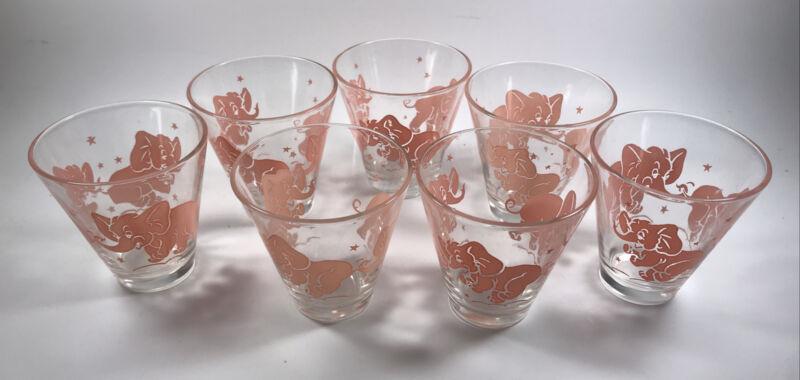 Set Of 7 Vintage Hazel-Atlas Pink Dancing Elephants W/Stars Glasses Bar Drink
