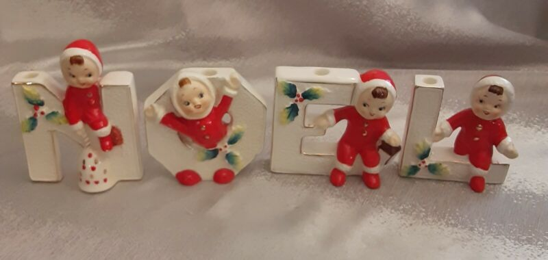 Vintage Set of 4 Christmas Noel Figurines Small Candle Holders ADOREABLE