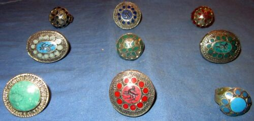 WHOLESALE LOT07 NINE (9) Rings Afghan Kuchi Tribal Alpaca Silver Size 6 - 10