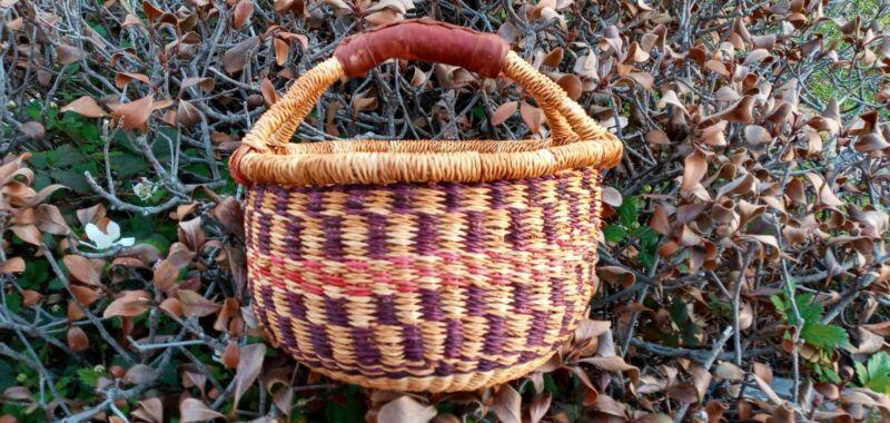 CLEARANCE ~ Small AUTHENTHIC Handmade Ghana BOLGA Market Basket Leather Handle