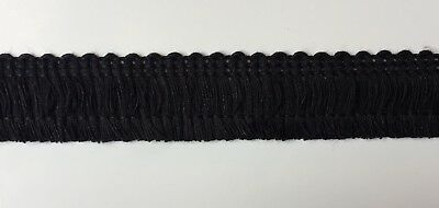 "1"" Cotton Brush Fringe Trims - Color: Black - 20 Continuous yards - MADE IN USA!"