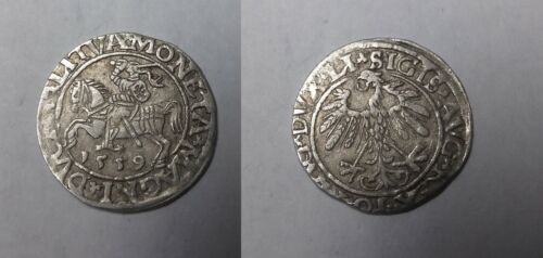 1559 Lithuania- Silver 1/2 Grosz- Armored Knight - 450 years old Nice #2