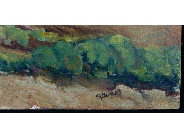 Huile sur isorel représentant un paysage de montagne signée en bas à droite
