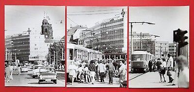 3 x DDR Grossformat Foto DRESDEN Verkehr Strassenbahn am Postplatz   ( F16888