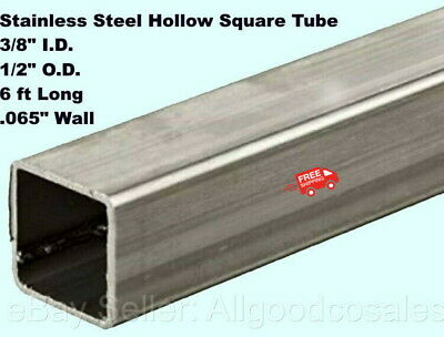 Stainless Steel Hollow Square Tube 38 I.d. X 12 O.d. X 6 Ft Long .065 Wall