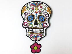Big White Sugar Skull - Day of the Dead -Dia de Los Muertos - Calavera - Pendulu