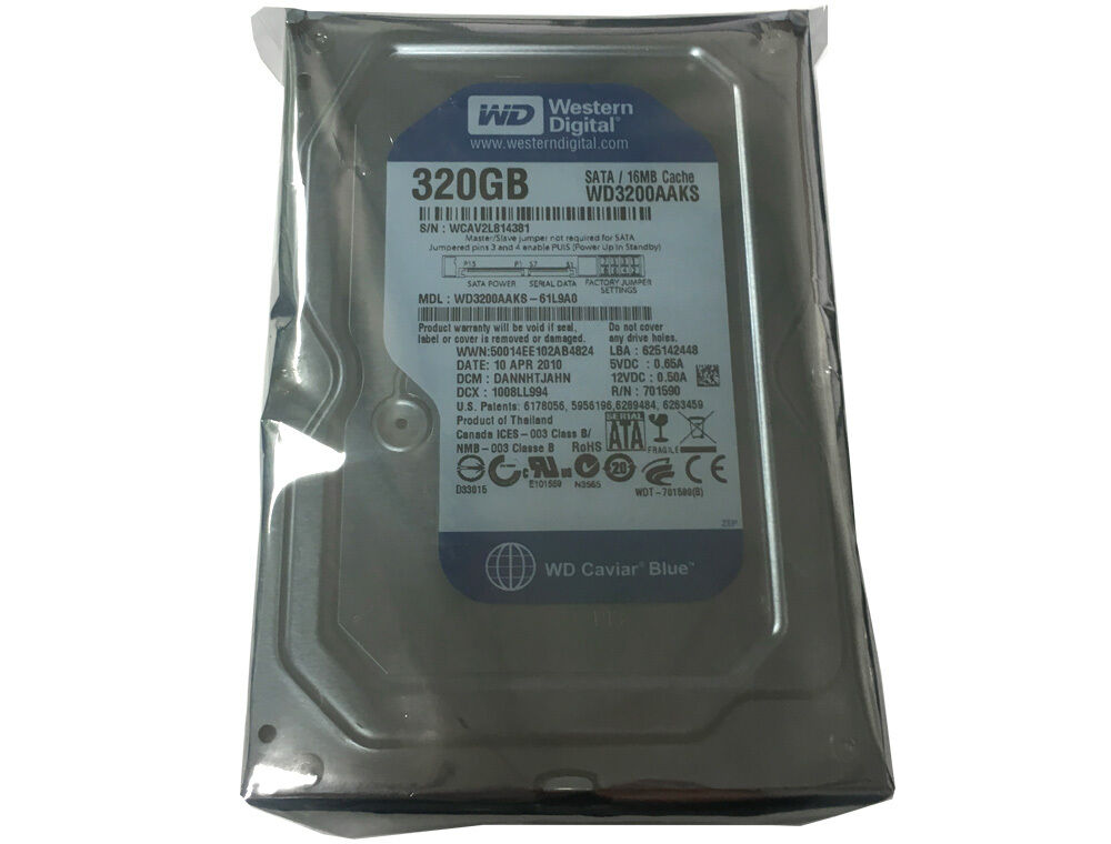 """WD Blue WD3200AAKS 320GB 16MB Cache 7200RPM SATA2 3.5"""" Hard"""