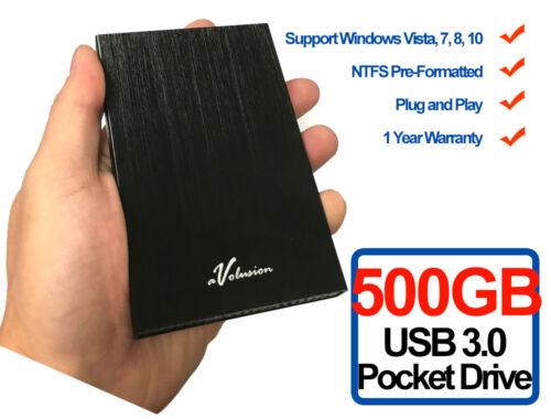 Avolusion HD250U3 500GB USB 3.0 Portable External Hard Drive (Black) Ultra Slim