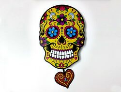 Big Yellow Sugar Skull - Day of the Dead -Dia de Los Muertos - Calavera - Pendul