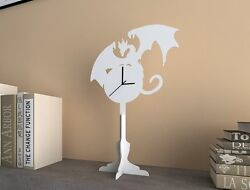 White Dragon - Silhouette Table Clock