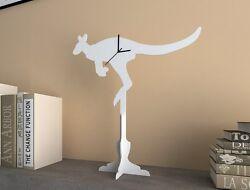 White Kangaroo - Silhouette Table Clock