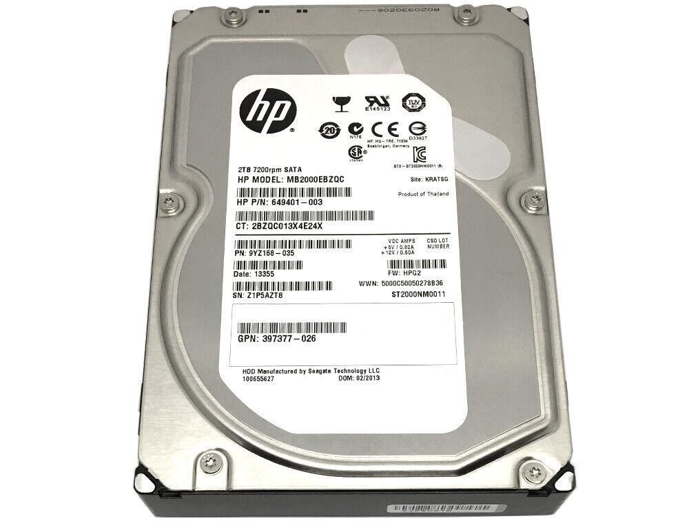 "HP/Seagate ST2000NM0011 2TB 7200RPM SATA6Gb/s 3.5"" Enterpris"