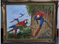 FRAMED PAINTING OF PARROTS