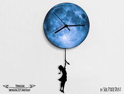 Girl with braid swinging on the moon 1 - Pendulum Wall Clock