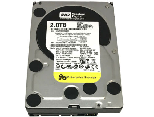 "WD RE4 WD2003FYYS 2TB 64MB Cache 7200RPM SATA 3.0Gb/s 3.5"" Enterprise Hard Drive"