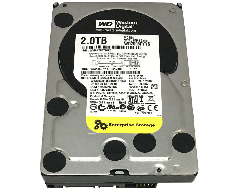 WD RE4 WD2003FYYS 2TB 64MB Cache 7200RPM SATA 3.0Gb/s 3.5 Enterprise Hard Drive