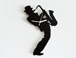 Man Play Saxophone Jazz Band Instruments - Wall Clock