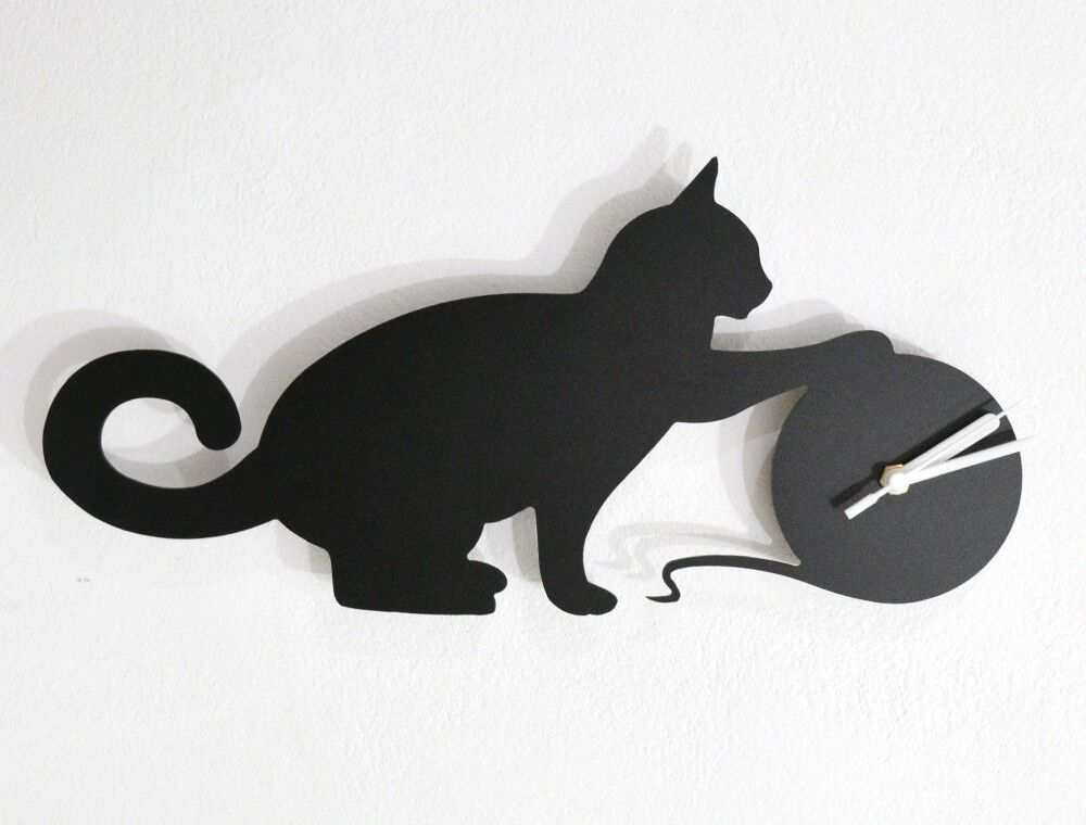 Cat Playing With a Ball of Yarn Silhouette - Wall Clock
