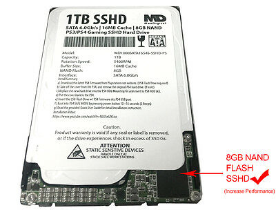 """New 1TB 16MB Cache + 8NAND (7mm) 2.5"""" SSHD Hybrid Gaming Hard Drive for PS4/PS3"""