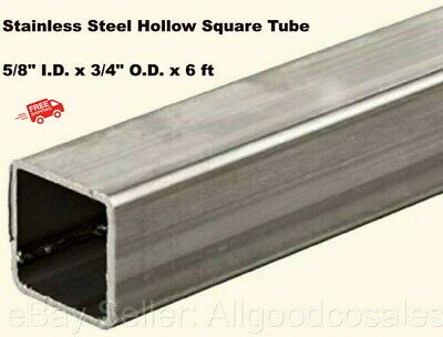 Stainless Steel Hollow Square Tube 58 I.d. X 34 O.d. X 6 Ft Long .065 Wall