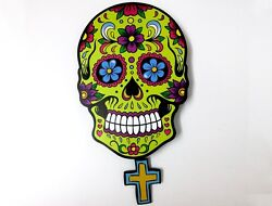 Big Green Sugar Skull - Day of the Dead -Dia de Los Muertos - Calavera - Pendulu