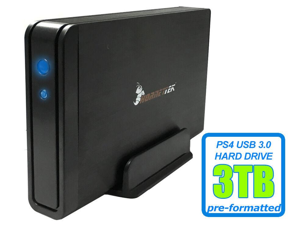 HornetTek Viper 3TB USB 3.0 External PS4 Hard Drive for PS4,