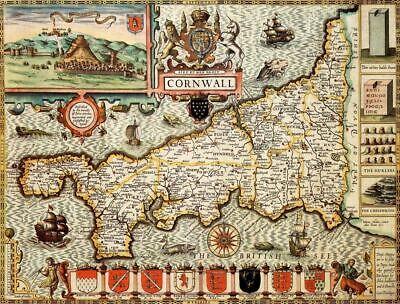 Cornwall Historical Laminated Map (1610)